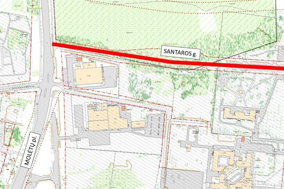 Sostinėje nutiesta nauja 3 eismo juostų Santaros gatvė (nuotr. Sauliaus Žiūros)