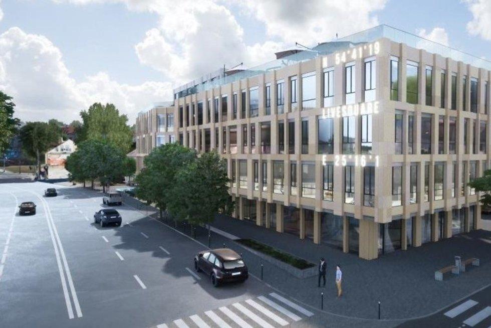 """Daugiafunkcio komplekso """"Live Square"""" statybos Vilniuje (nuotr. bendrovės)"""