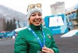 Po finišo pravirkusi slidininkė: norėjau kuo greičiau atsigulti ant šalto sniego