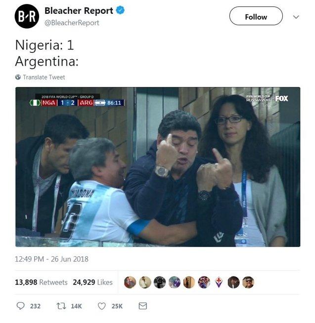 Argentinos legenda pašėlo: po pergalingo įvarčio svaidėsi nepadoriais gestais (nuotr. SCANPIX)