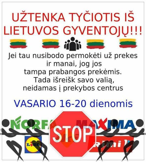 Akcija, raginanti neiti į didžiuosius Lietuvos prekybos centrus. Nuotr.: facebook.com