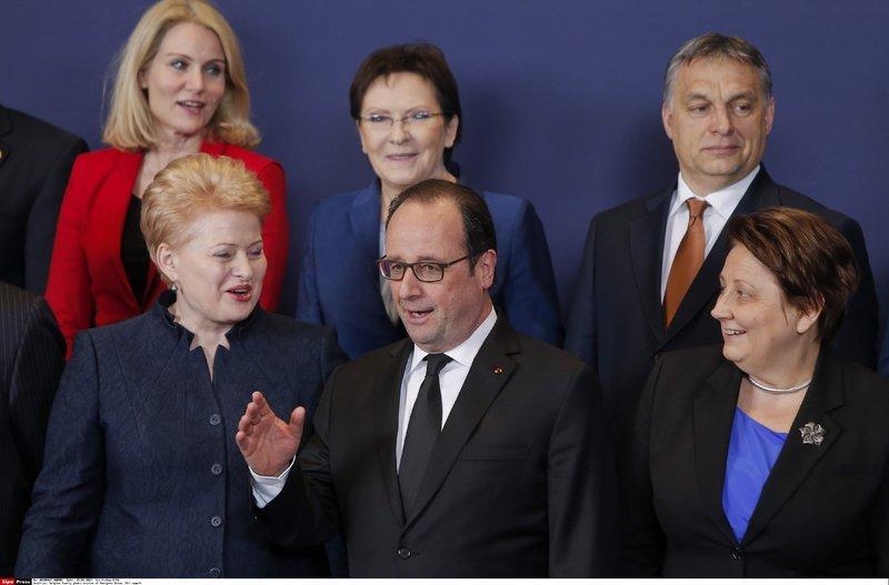 Prancūzijos prezidentas Francois Hollande'as kalbasi su Dalia Grybauskaite (nuotr. SIPA/Scanpix)