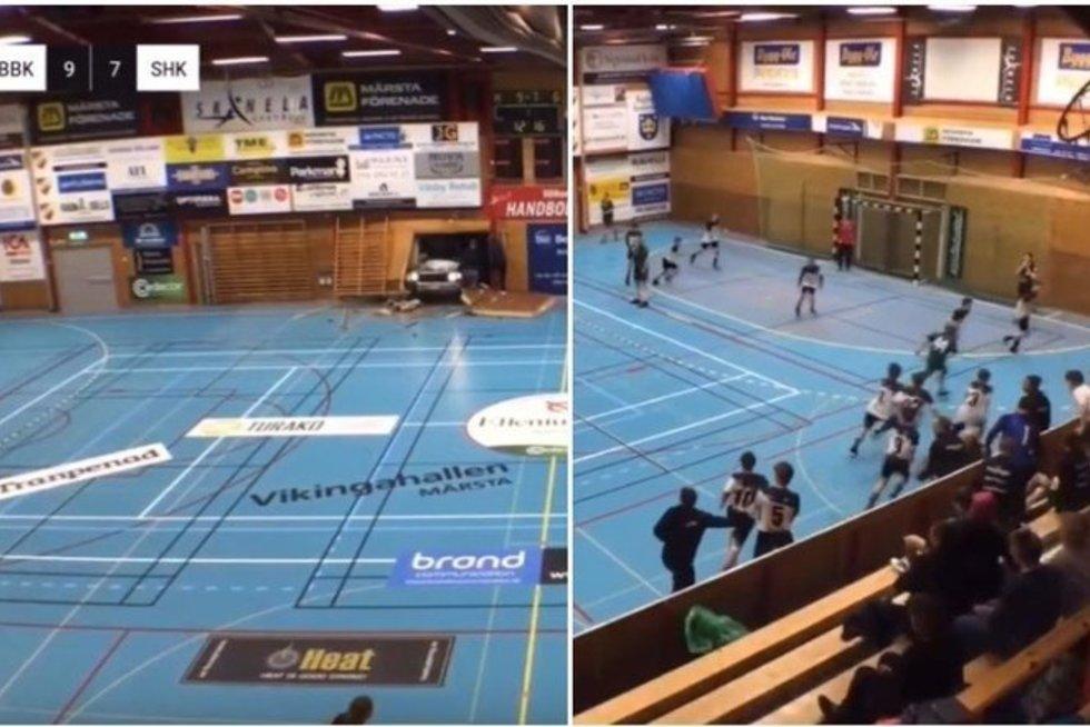 Incidentas rankinio rungtynių metu (nuotr. stop kadras)