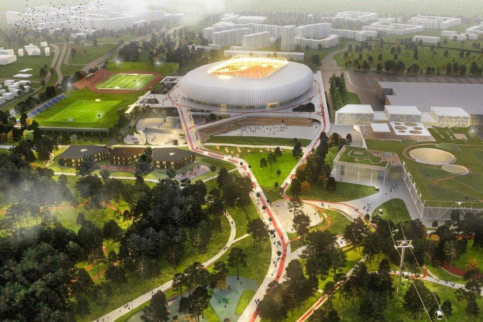 """""""Vilniaus nacionalinio stadiono"""" projekto vizualizacija (nuotr. bendrovės)"""