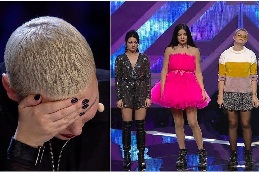 """""""X faktoriuje"""" – dar neregėta dalyvių išlikimo drama: Jazzu puolė į ašaras (nuotr. stop kadras)"""