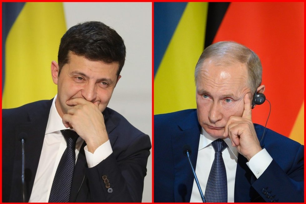 "Rusai neberodys serialo su Zelenskiu: iškirpo sceną su ""Putin – ""Hublot"" (nuotr. SCANPIX) tv3.lt fotomontažas"