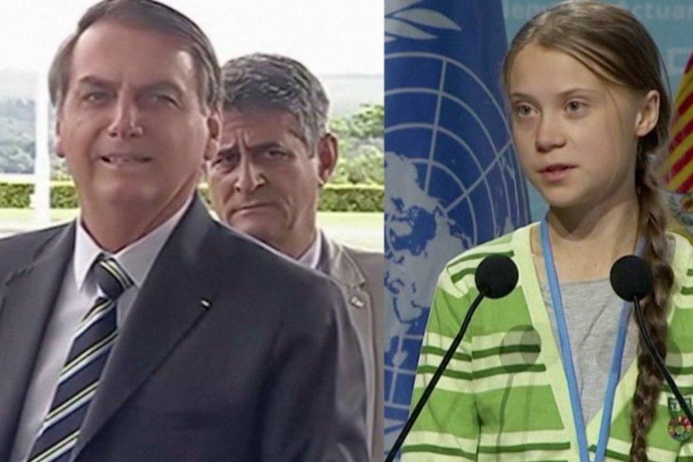 Brazilijos prezidentas ir G. Thunberg (nuotr. stop kadras)