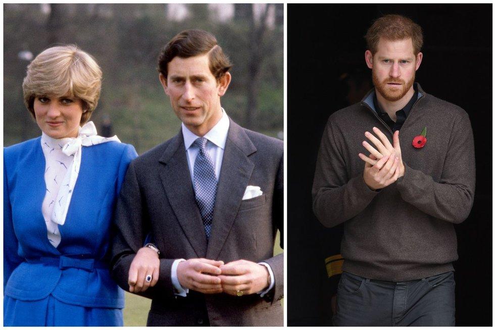 Princesė Diana, princas Charles ir princas Harry (tv3.lt fotomontažas)