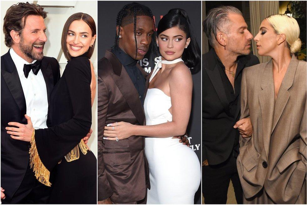 B. Cooperis ir I. Shayk, T. Scottas ir K. Jenner, C. Carino ir Lady Gaga (nuotr. SCANPIX) tv3.lt fotomontažas