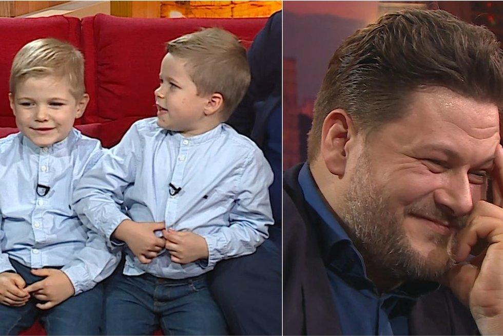 Merūno sūnūs privertė atlikėją raudonuoti: Stasiulis ir Jankevičius prapliupo juokais (nuotr. stop kadras)