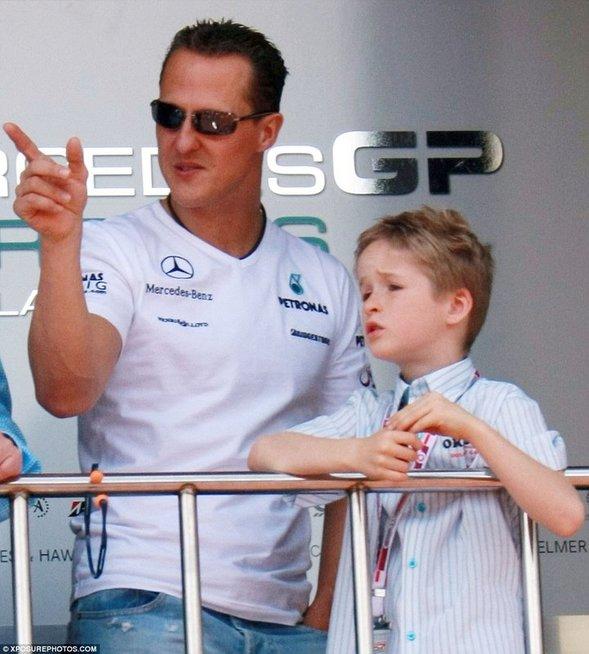 Michaelis Schumacheris ir sūnus Mickas (nuotr. asm. archyvo)