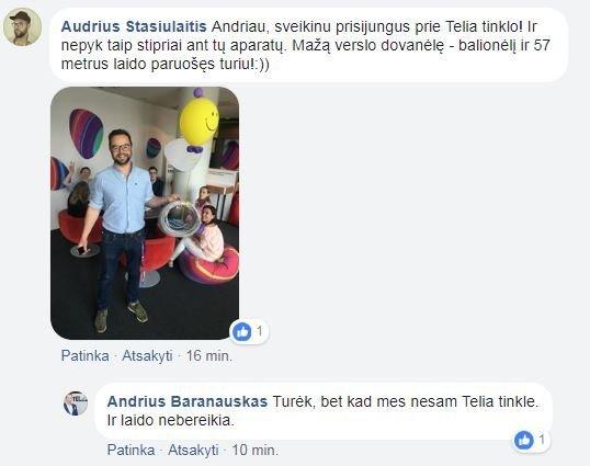 Tele2 ir Telia komunikacijos atstovų apsižodžiavimas (nuotr. facebook.com)