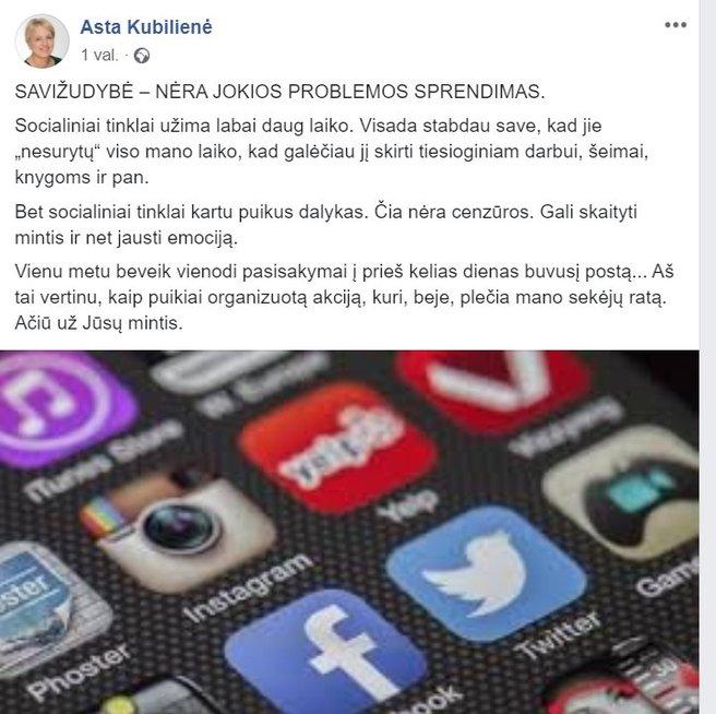 "Komentaras ""Facebook' paskyroje"