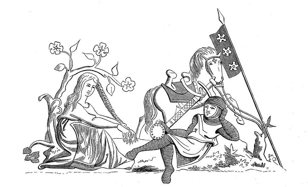 XIII a. Graži mergelė ir kavalierius
