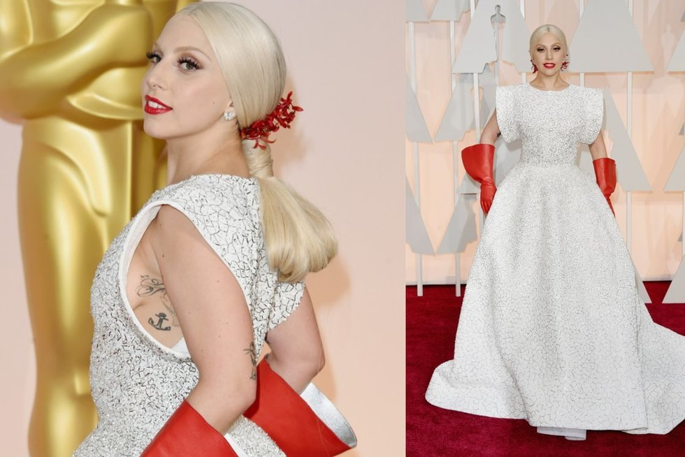 "Lady Gaga per 2015 metų ""Oskarus"" (nuotr. SCANPIX) tv3.lt fotomontažas"