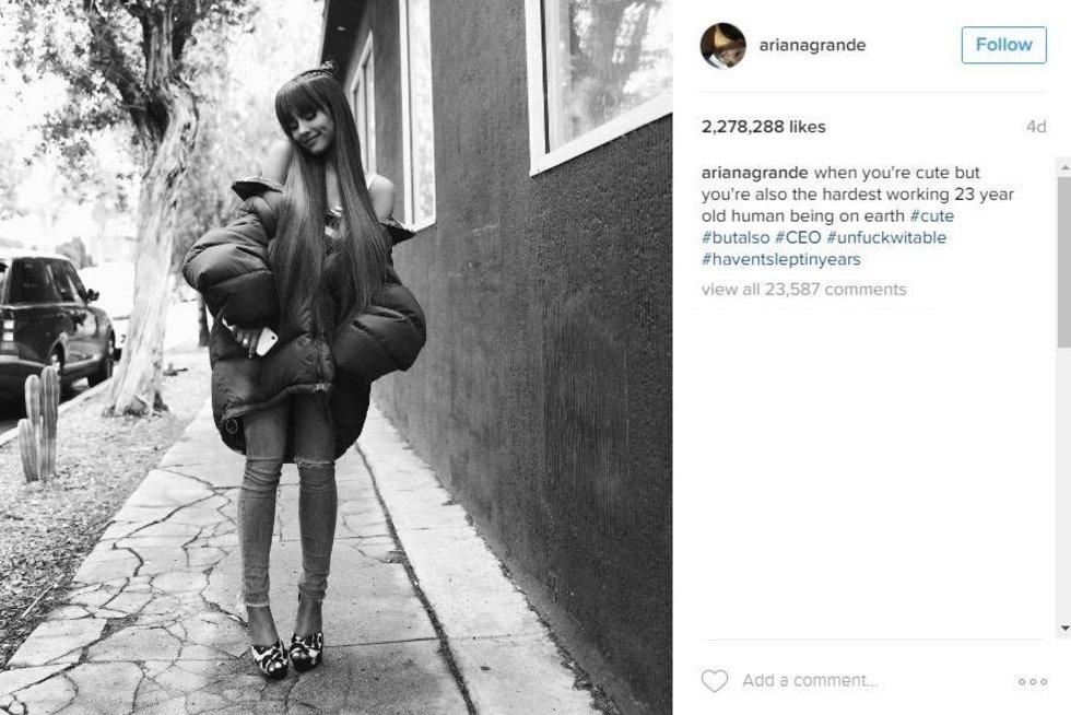 Arianos Grande įrašas (nuotr. Instagram)