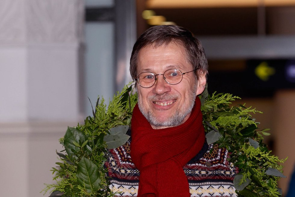 Profesoriaus Liudo Mažylio sutikimas Vilniaus oro uoste (nuotr. Tv3.lt/Ruslano Kondratjevo)