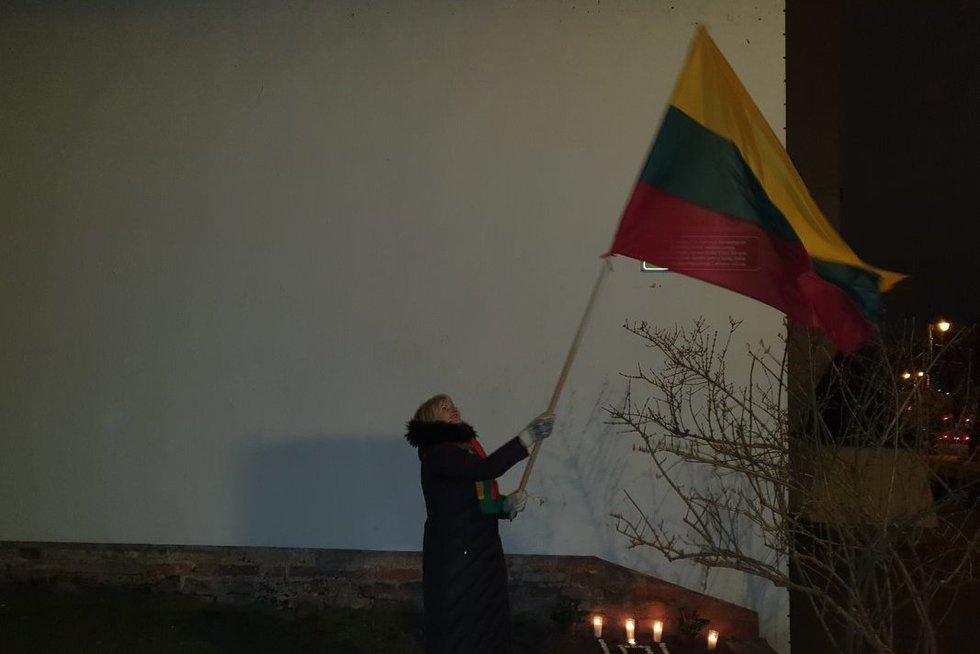 Sostinėje pareigūnai sulaikė moterį, mojavusią Lietuvos vėliava (nuotr. skaitytojo)