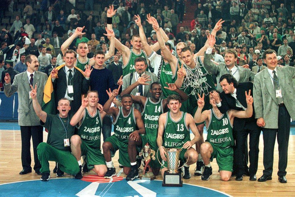 """Kauno """"Žalgirio"""" triumfas 1999 metais Eurolygoje (nuotr. Elta)"""