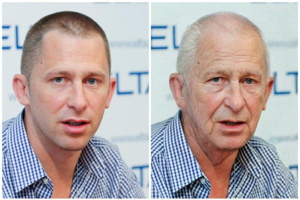 "Egidijus Dragūnas ir jo nuotrauka pakeista su ""FaceApp"" sendinimo filtru (nuotr. Fotodiena.lt)"
