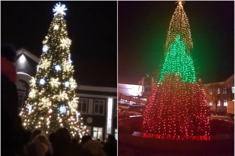 Šių metų ir pernai metų Gargždų kalėdinės eglės (tv3.lt fotomontažas)