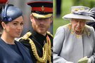 Meghan Markle, princas Harry ir karalienė (nuotr. SCANPIX) tv3.lt fotomontažas