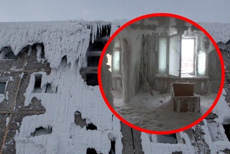 Rusijoje daugiabutis sušalo į ledą: neįtikėtina – ten vis dar gyvena žmonės (nuotr. VK.com)