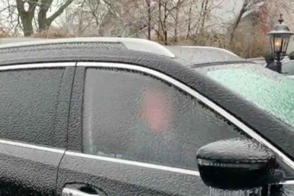 Užšalęs langas (nuotr. stop kadras)