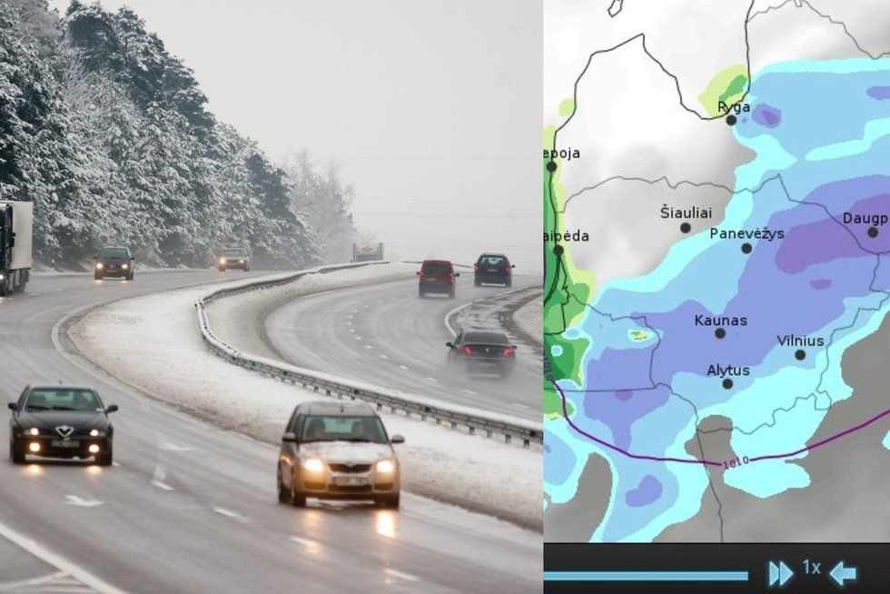 Per Lietuvą slenka sniego debesis (tv3.lt koliažas)