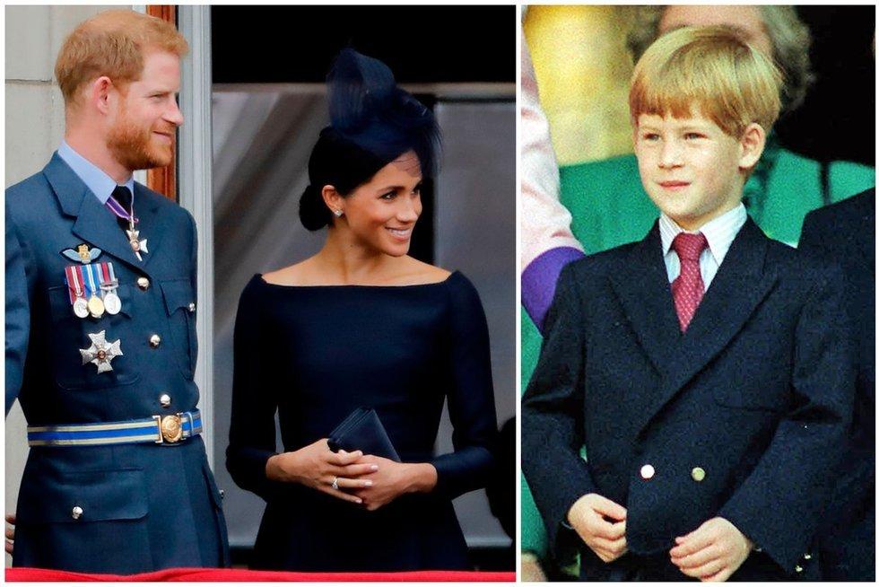 Meghan Markle ir princas Harry vaikystėje (tv3.lt fotomontažas)