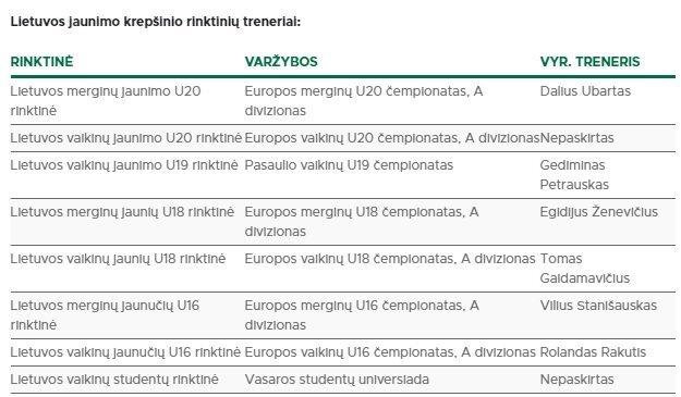 Lietuvos jaunimo krepšinio rinktinių treneriai ( nuotr. LKF)