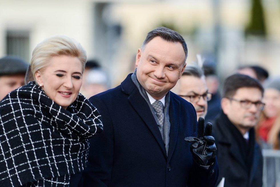 Lenkijos prezidentas Andrzejus Duda su žmona Agata (nuotr. Fotodiena/Justino Auškelio)