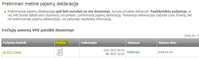 VMI suformuotos pažymos peržiūra (nuotr. tv3.lt)
