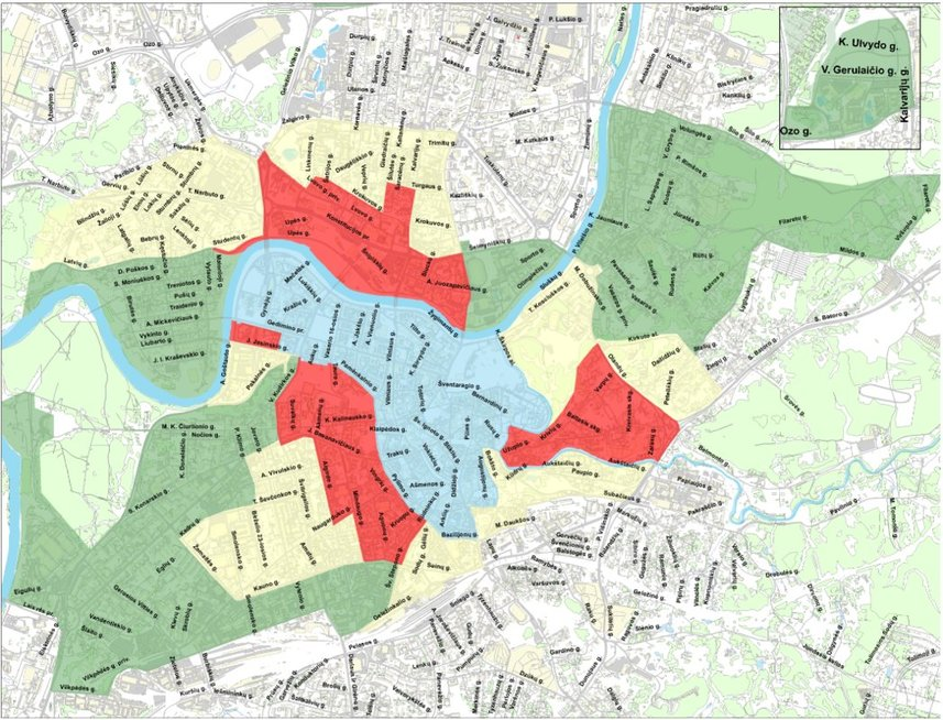 Rinkliavos zonos Vilniuje nuo sausio 1 d. (nuotr. vilniustransport.lt)