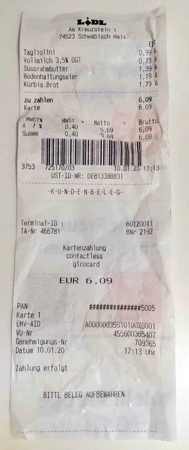 Prekių kainos Vokietijoje, pirkta Lidl