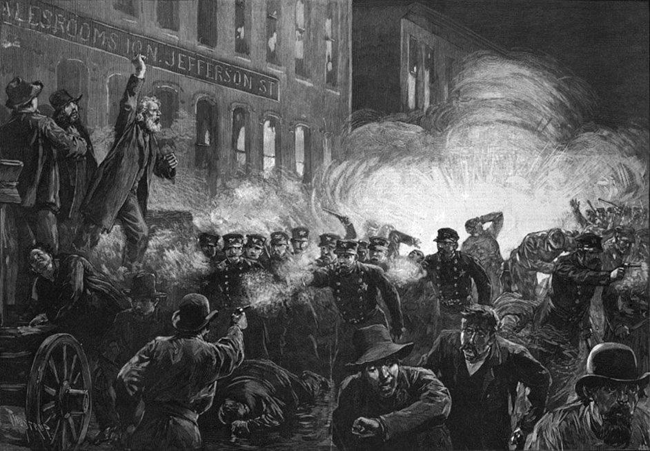 Darbuotojai Čikagoje streiko metu reikalavo 8 valandų darbo dienos
