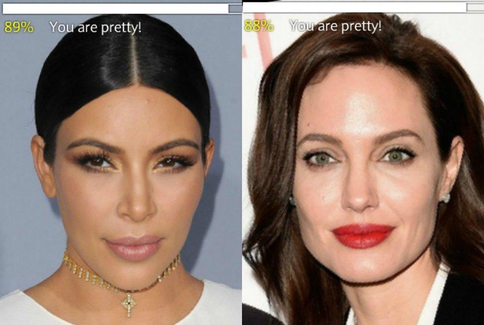 Kim Kardashian ir Angelina Jolie (nuotr. Vida Press)