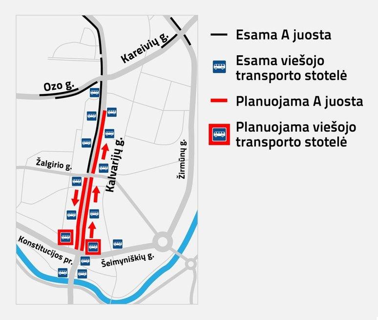 Kalvarijų gatvės planas (nuotr. Vilniaus savivaldybė)