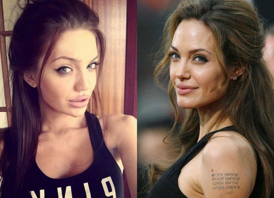 Angelina Jolie ir Chelsea Marr (nuotr. tv3.lt fotomontažas)