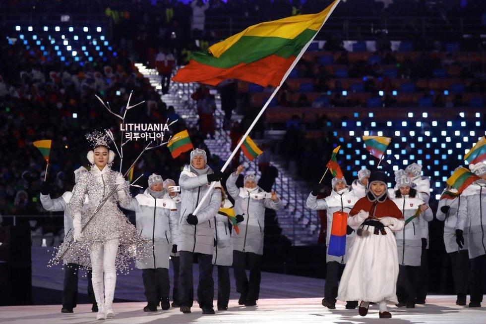 Pamatyk: lietuvių eisena Pjongčango žaidynių atidarymo ceremonijoje (nuotr. SCANPIX)