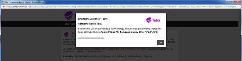 Telia perspėja apie bandymus pavogti lietuvių mokėjimo kortelių duomenis (nuotr. facebook.com)