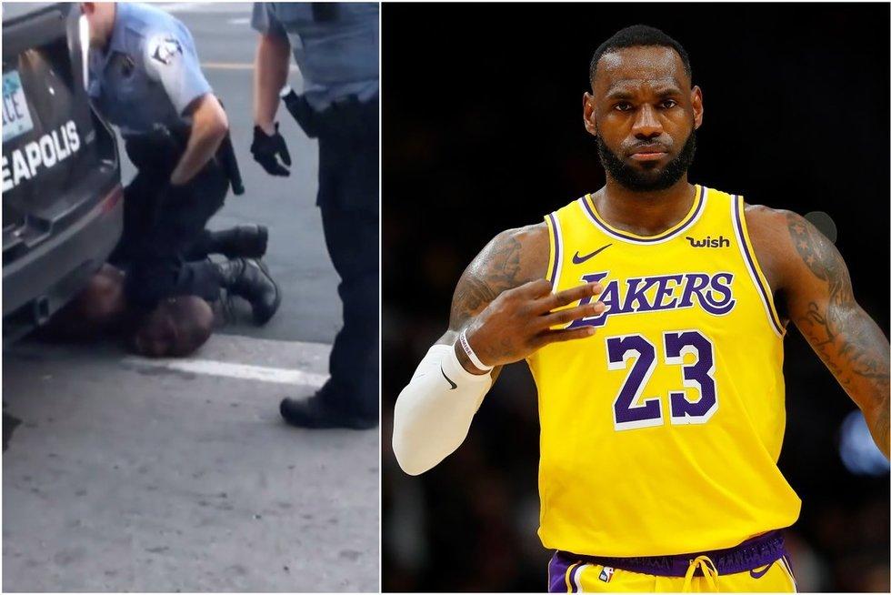 LeBron James pasipiktino vaizdo įrašu, kuriame 4 policijos pareigūnai uždusino juodaodį (tv3.lt fotomontažas)