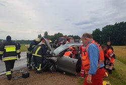 Masinė avarija kelyje Kaunas–Alytus: vienas keleivis išvežtas į ligoninę, susidarė spūstis