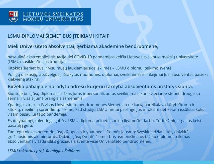 """LSMU diplomų įteikimo ceremonija (nuotr. LSMU """"Facebook"""")"""