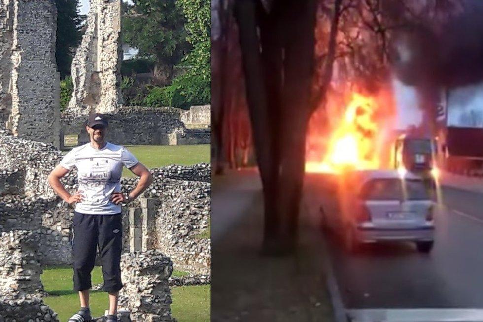G. Sprindys išgelbėjo vyrą iš liepsnojančio automobilio (Nuotr. facebook.com ir youtube.com)