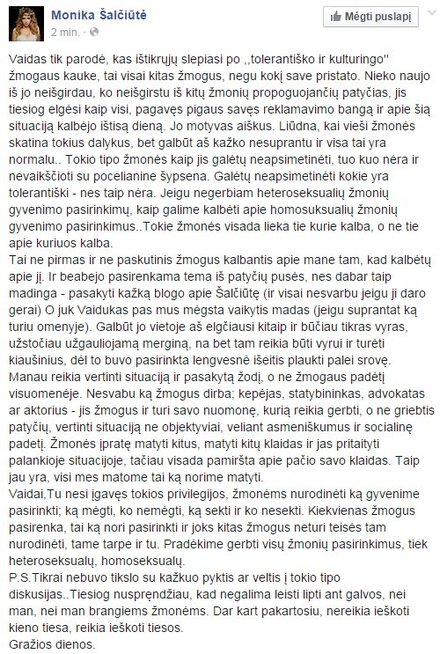 "Monikos Šalčiūtės komentaras (nuotr. asmeninio albumo (""Facebook"")"