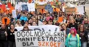 Mokytojų streikas Lenkijoje (nuotr. SCANPIX)