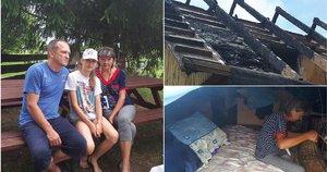 """Darbšti Trakų rajone gyvenanti šeima po gaisro neteko namų (nuotr. fondo """"Gėrio trupinėlis"""")"""