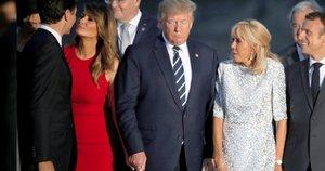 Melania Trump, Justin Trudeau, Donaldas Trumpas, Brigitte Trogneux, Emmanuelis Macronas (nuotr. stop kadras)