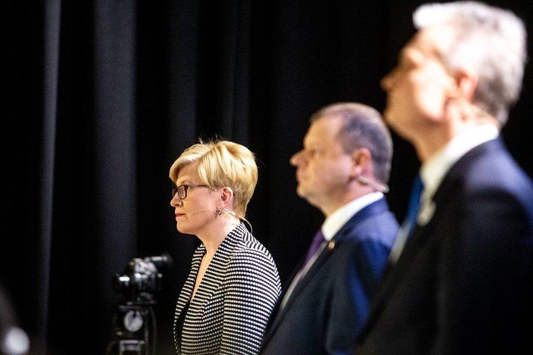 Kandidatų į prezidentus Nausėdos, Šimonytės ir Skvernelio debatai (nuotr. Fotodiena.lt)
